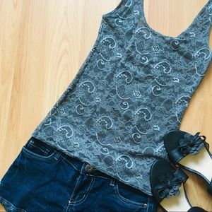 Talula Grey Lace Tank Top XS